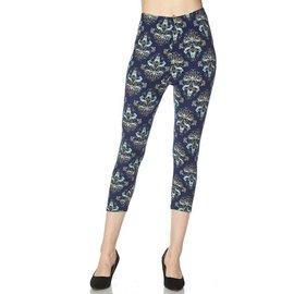 Capri Leggings- Blue Fleur de Lis