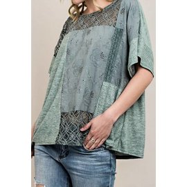 Sage Patched Top