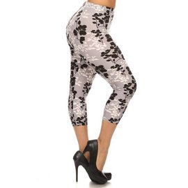 PLUS CAPRI LEGGINGS - SHADOW FLOWERS
