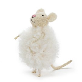 FLUFFY SNOWBALL MOUSE ORNAMENT