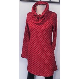 KOMIL RED AND BLACK COWL TUNIC