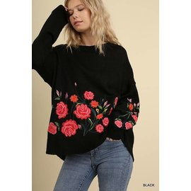 Flowers Embroidered Sweater- SALE