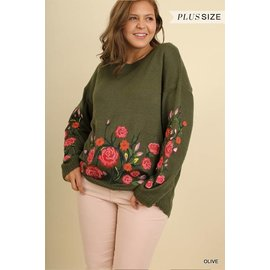 Flowers Embroidered PLUS Sweater - SALE
