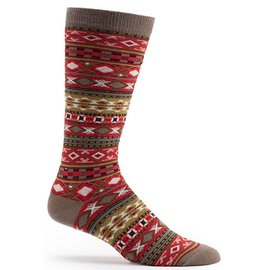 OZONE DESIGN MEN'S RED FAIR ISLE SOCKS