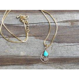 Turquoise Teardrop in Bronze Swirls Necklace