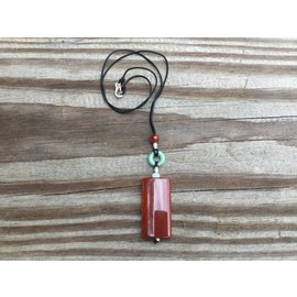 Red Jade Rectangle Corded Pendant