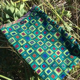 One Of A Kind Handmade Item Very Useful Little Bag #48 Green Squares