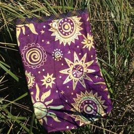 One Of A Kind Handmade Item Very Useful Little Bag #16 Plum Sun Faces