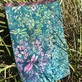 One Of A Kind Handmade Item Very Useful Little Bag #34 Teal Dragonflies