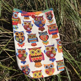 One Of A Kind Handmade Item Very Useful Little Bag #22 Cheery Owls