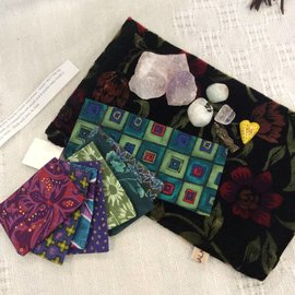 Kate's Travel Altar and Crystal Pouches - Floral Velvet
