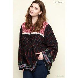 Boho Border Print Plus Blouse