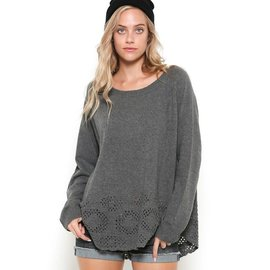 Eyelet Hem Sweater
