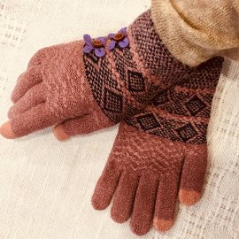 SWEATER KNIT GLOVES MAUVE