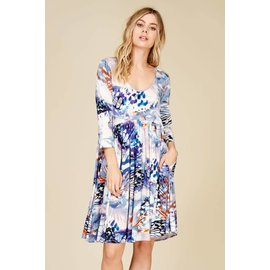 Abstract Print Dress - BLUE