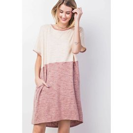 Super Cute Adobe Heather Color Block Dress with Pockets!