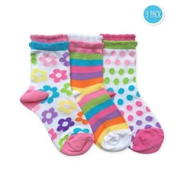 Flower Dot Stripe Sock Set for Girls