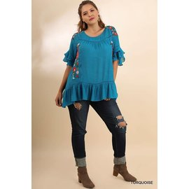 UMGEE TURQUOISE FLUTTER SLEEVE PLUS TOP