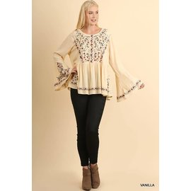 UMGEE VANILLA PLUS EMBROIDERED BLOUSE