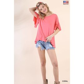 CORAL FLUTTER SLEEVE TEE