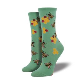 HONEY COMB BEES SOCKS SEAFOAM