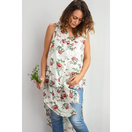 IVORY FLORAL BUTTON TUNIC