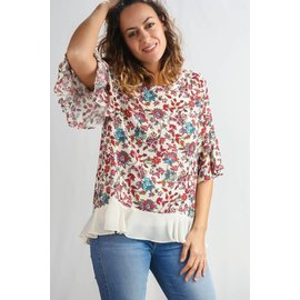 IVORY FLORAL & CHIFFON BLOUSE