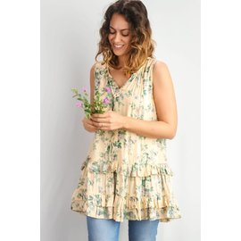 TAUPE FLORAL SLEEVELESS TUNIC