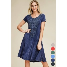 Mineral Wash Dress with Lace & Pockets