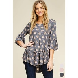 Heathered Charcoal Floral Top