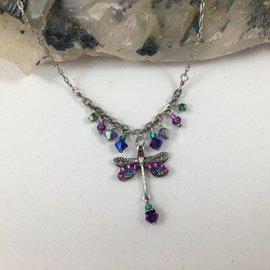 Swarovski Crystal Purple Dragonfly Necklace