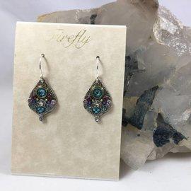 Swarovski Crystal Mosaic Drop Earrings in Light Turquoise