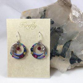 Celestial Moon Earrings in Fuchsia