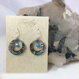 Celestial Moon Earrings in Light Turquoise