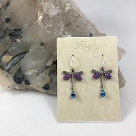 Swarovski Crystal Dragonfly Earrings in Purple