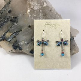 Swarovski Crystal Dragonfly Earrings in Turquoise