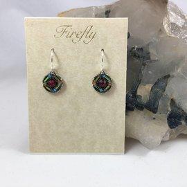Swarovski Crystal Ruby Button Earrings