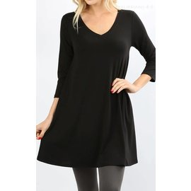 Swing Tunic with Pockets - Black