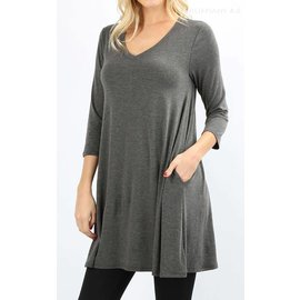 Swing Tunic with Pockets - Charcoal