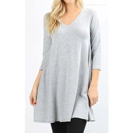 Swing Tunic with Pockets - Heather Grey