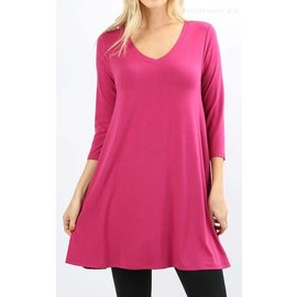 Swing Tunic with Pockets - Magenta