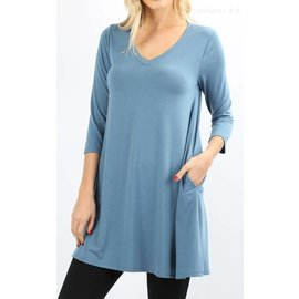 Swing Tunic with Pockets - Steel Blue