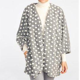 Fuzzy Polka Dot Sweater Jacket