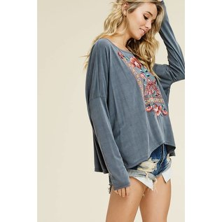 Embroidered Jersey Boho Top