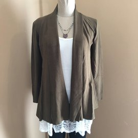Draped Cable Cardigan in Olive