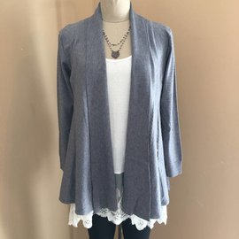 Draped Cable Cardigan in Grey