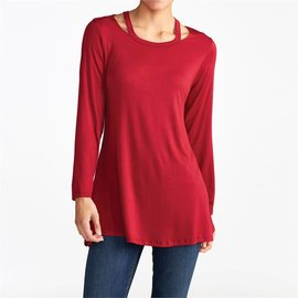 Evie Swing Cutout Tunic - Red