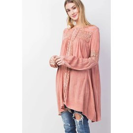 Antiqued Gauze Button Tunic