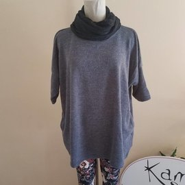 Ribbed Sweater Tunic with Detachable Cowl
