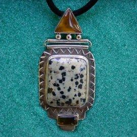 Dalmatian Jasper and Amber Pendant